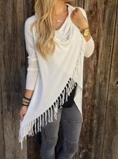 cardigan,girly,fringes,fringe sweater,sweater,white