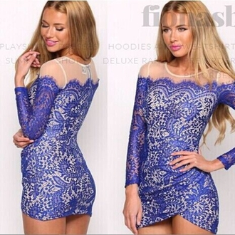 lace dress mesh dress patchwork irregular dress blue dress mini dress long sleeve dress sexy dress summer dress evening dress o neck floral