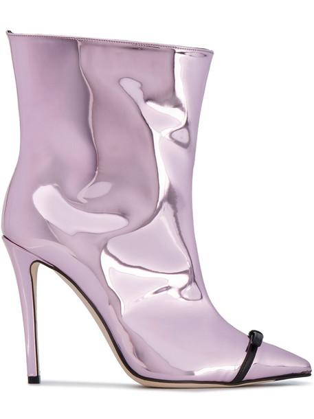 open zip metallic women ankle boots leather purple pink shoes
