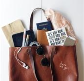 bag,brown bag,tote bag,leather bag,passport cover,brown leather bag
