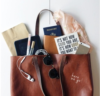 bag brown bag tote bag leather bag passport cover brown leather bag