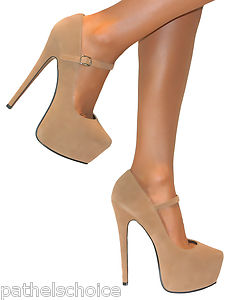 Ladies nude mary jane strappy platform stiletto high heels court shoes size prom