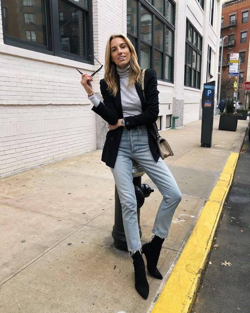 top tumblr grey top turtleneck grey turtleneck top denim jeans blue jeans cropped jeans frayed denim boots black boots blazer black blazer