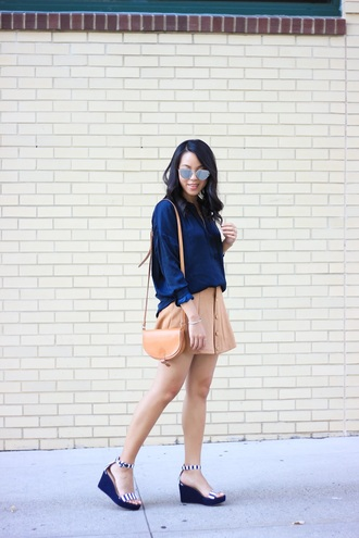 refined couture blogger top skirt shoes sunglasses bag blue shirt shirt mirrored sunglasses silver sunglasses suede skirt camel skirt button up button up skirt mini skirt brown bag shoulder bag sandals wedges wedge sandals striped shoes summer outfits