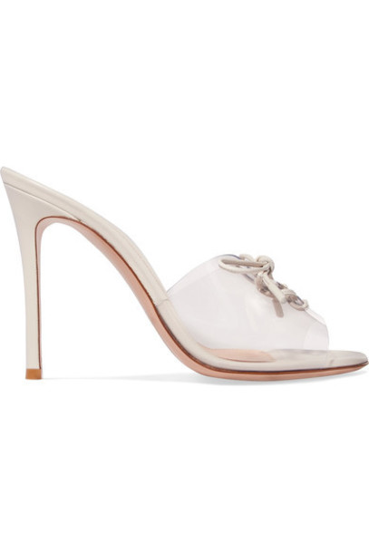 100 mules leather white shoes