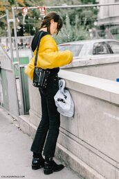 jacket,tumblr,yellow,yellow jacket,jeans,black jeans,bag,black bag,boots,flashes of style,flat boots,black boots,fall outfits,streetstyle
