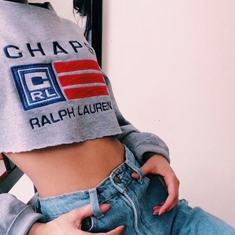 shirt ralph lauren sweater style fashion crop tops cropped sweater cropped hoodie grey sweater grunge