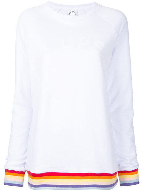 The Upside - striped detail sweatshirt - women - Cotton - XS, White, Cotton