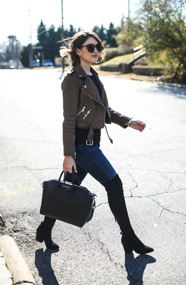 life & messy hair blogger jacket tank top shoes jeans bag sunglasses brown jacket cropped jacket givenchy bag thigh high boots boots winter outfits
