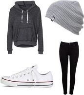sweater,winter sweater,grey sweater,hat,jacket,grey beanie,blouse,grey,hoodie,beanie,gray sweaters,top,jeans,charcoal,loose,shirt,swimwear,shoes,converse,pull string,gray hoodie,dark gray sweater,fall outfits,fashion,fall sweater,fall jacket,head apparel,tights,black jeans,dark gray sweatshirt,i need this help
