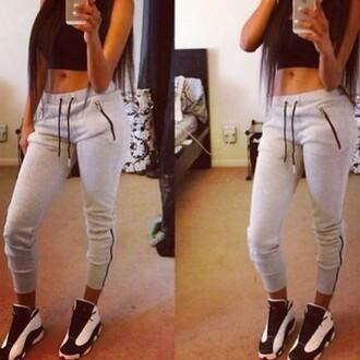 sweatpants grey zipper