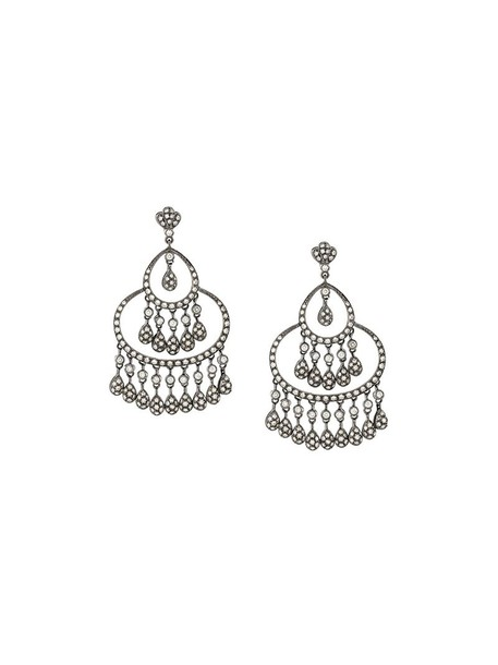 Loree Rodkin women earrings gold grey metallic jewels