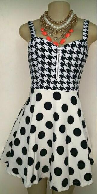 dress polka dots houndstooth and polka dot dress black dress white dress pattern houndstooth