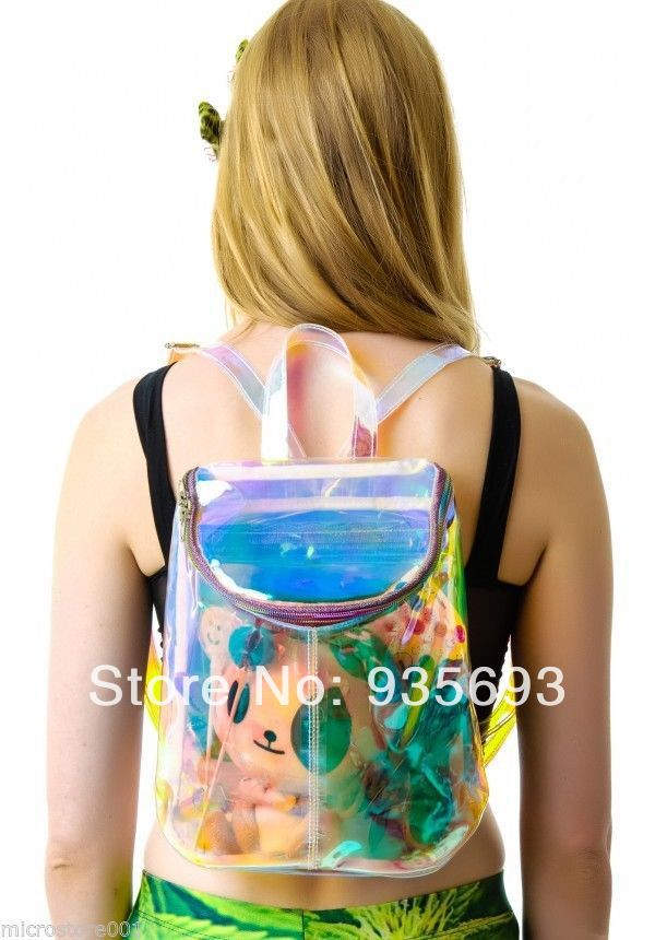 Aliexpress.com : buy pu rainbow color clear spacer backpack holographic gammaray hologram iridescent shoulder bag from reliable bag water suppliers on online store 935693