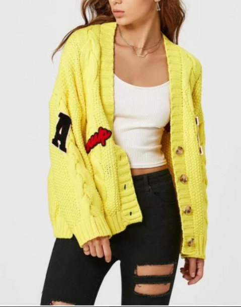 cardigan girly oversized cardigan knitted cardigan knit yellow patchwork patch button up fall outfits