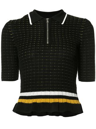 top short zip women spandex cotton black