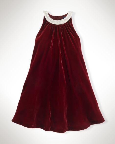 Collar velvet dress