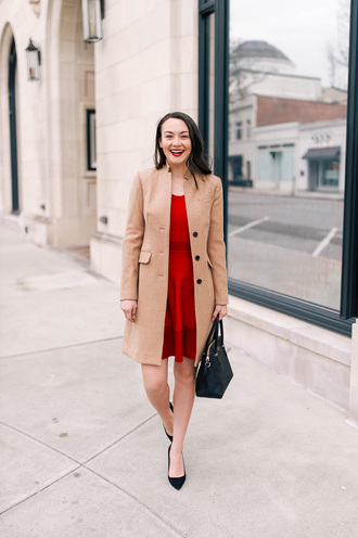 thecollegeprepster blogger coat dress shoes bag jewels red dress handbag pumps nude coat winter outfits