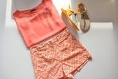 shorts,t-shirt,coral,High waisted shorts,high waisted,printed shorts,pattern,pink,blouse,shoes