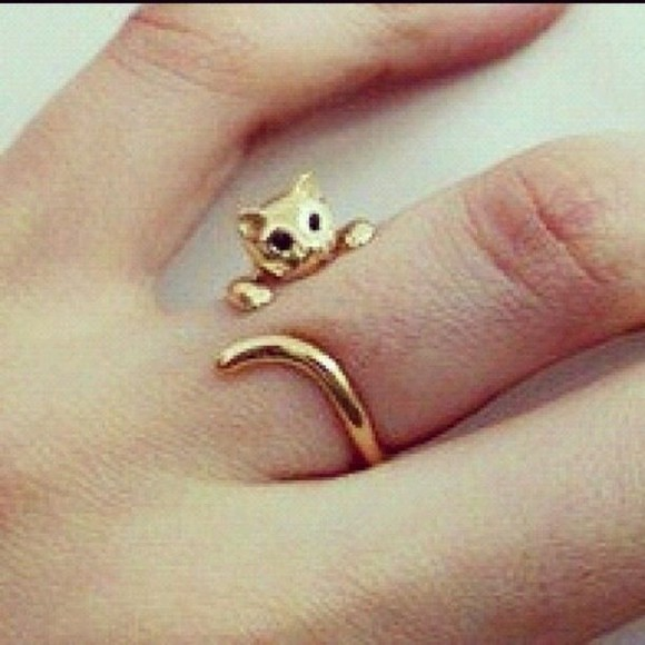 jewels gold ring cat ring kitty ears kittens kawaii
