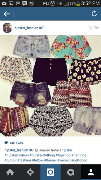 black shorts denim hipster heaven daisies floral tribal hipster fashion