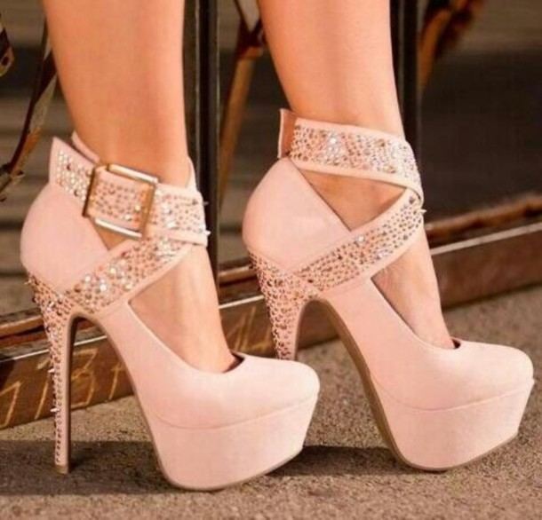 Shoes: heels, platform shoes, pink, glitter, belt, baby pink high ...