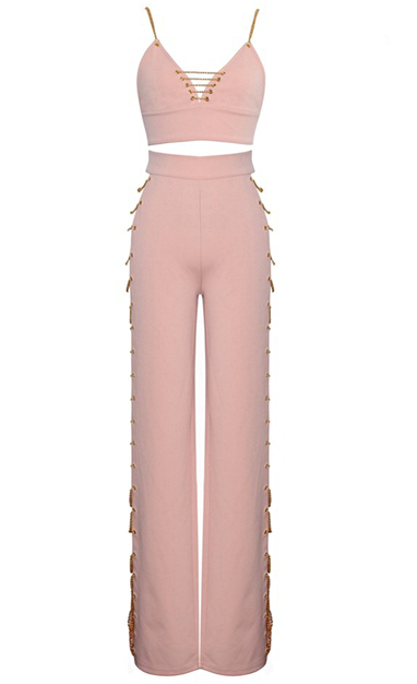 Chain Detail Two Piece Jumpsuit Pink