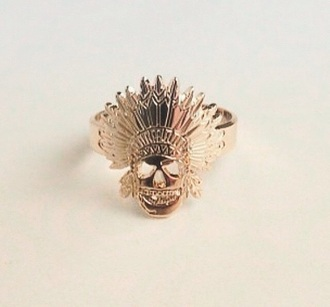jewels gold ring skull skull ring indie boho boho chic