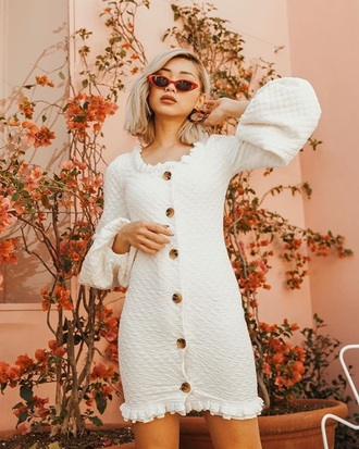 dress mini dress long sleeves long sleeve dress sunglasses red sun white dress button up camouflage