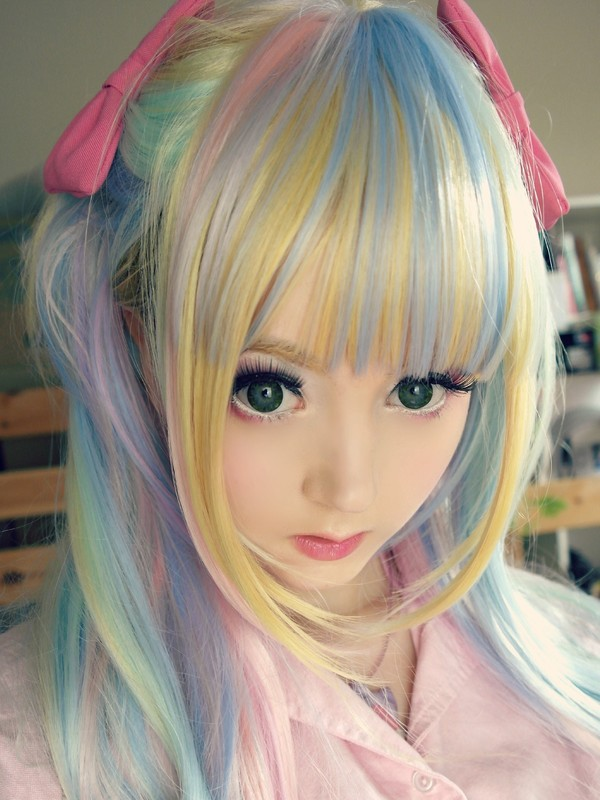 hat wig rainbow kawaii cute anime anime bows pink pink bow pink bow blue green purple blonde hair pastel venusangelic jewels lolita girly