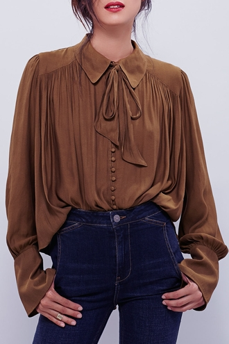 blouse fall outfits winter outfits brown casual cute bow top fashion style