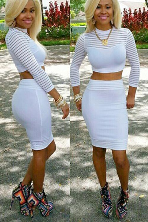 Buy sexy black white set bandage dress nine point sleeve solid color two pieces bodycon dress package hips mini clubwear party dresses hx9, $16.09