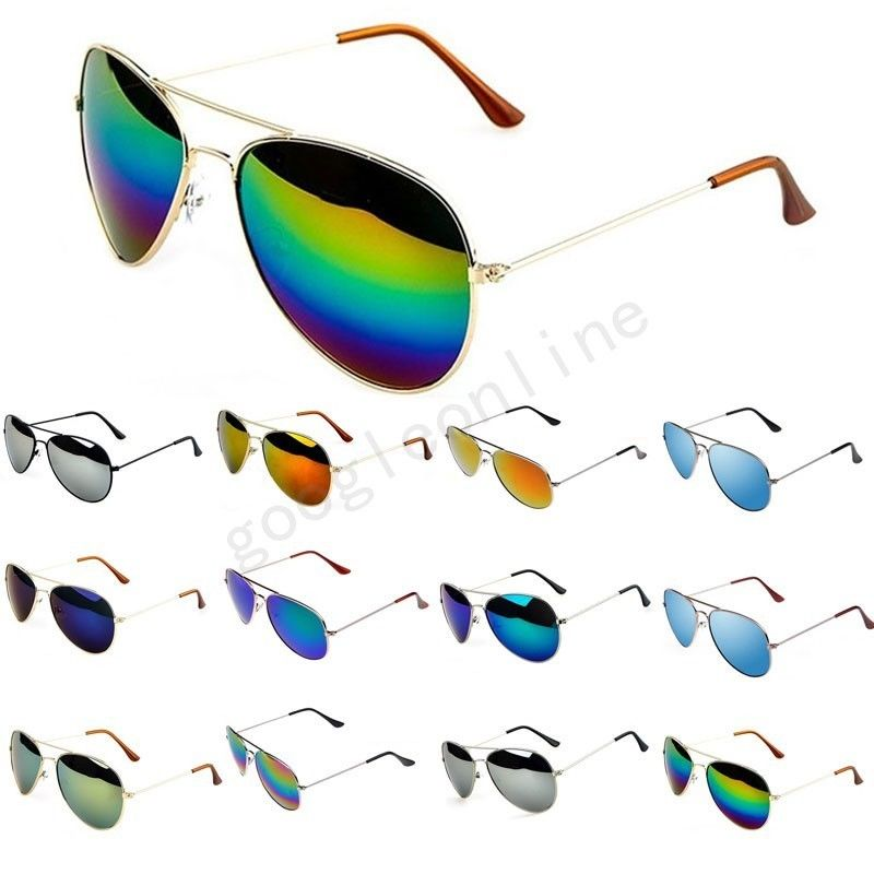 New Retro Aviator Sunglasses Eyewear Mirrored Lens Brown Gold Black Sunglasses | eBay