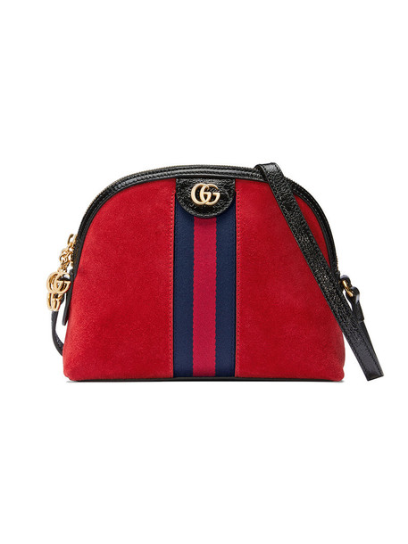 gucci metal women bag shoulder bag leather suede silk red