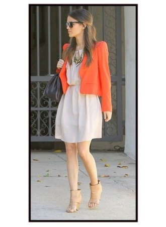 beige dress red jacket rachel bilson shoes jacket dress