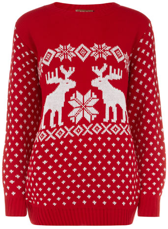 Red novelty reindeer jumper - Knitwear  - Clothing  - Dorothy Perkins