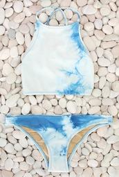 swimwear,hi neck halter top,bikini,blue tie dye,hineck,high neck,tie dye,blue