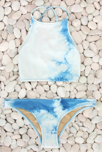 swimwear hi neck halter top bikini blue tie dye hineck high neck tie dye blue