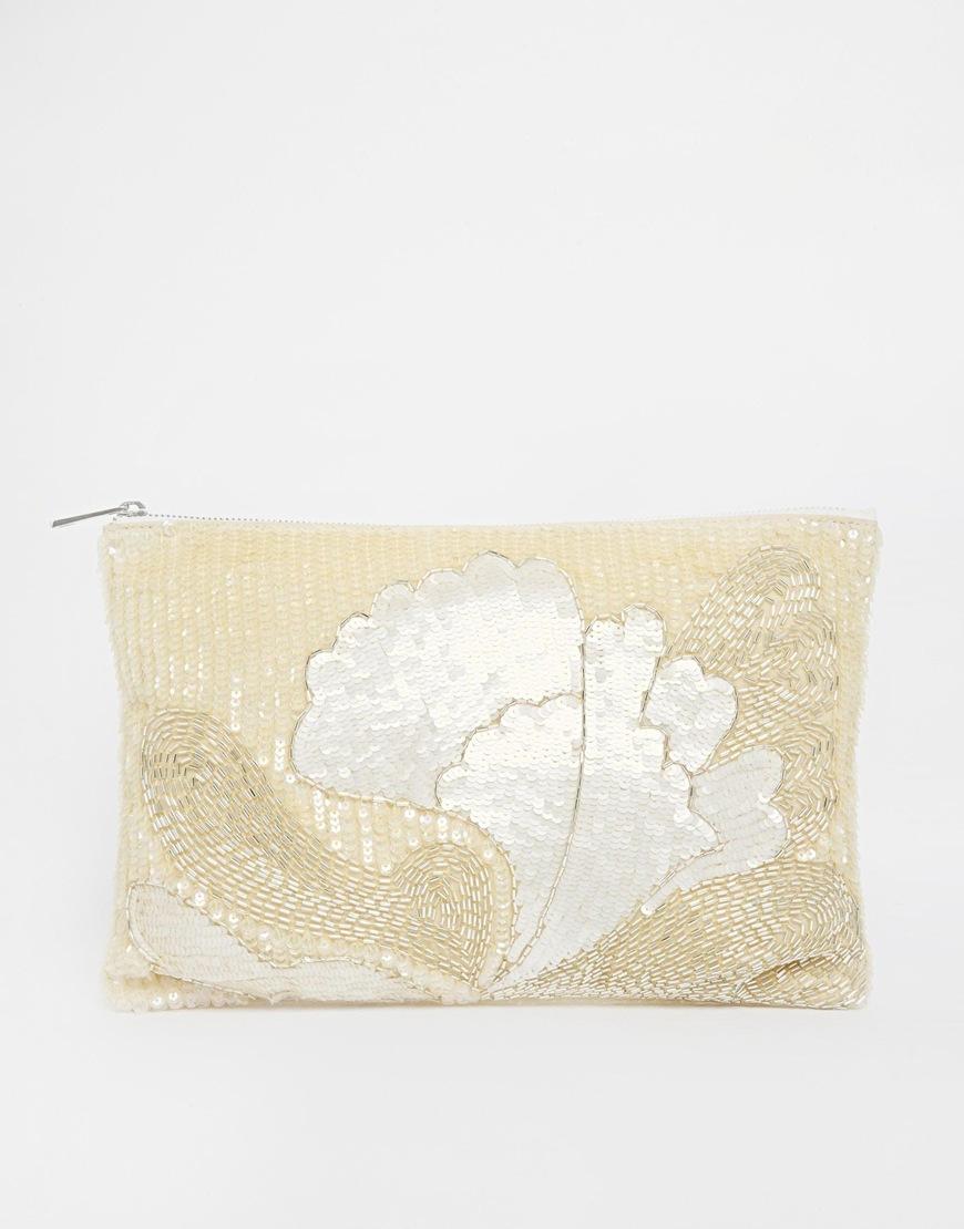 Asos premium floral embellished clutch bag at asos.com