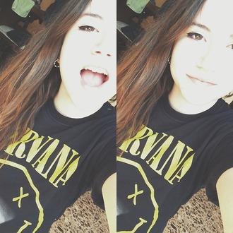 t-shirt nirvana t-shirt cute black yellow