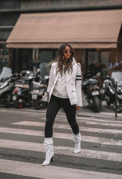 026c7f20e26 shoes boots white boots pants black pants blazer white blazer hoodie white  hoodie