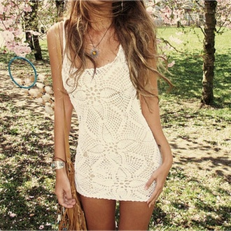 dress tank top dress white crochet white dress crochet white short dress summer dress summer flowers lacy
