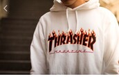 sweater,thrasher,hoodie,white,fire,magazine,dope,swag,t-shirt