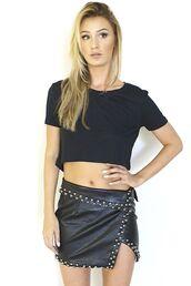 black skirt,studded skirt,faux leather,front slit skirt,mini skirt,www.ustrendy.com,skirt