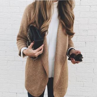 cardigan tumblr camel camel cardigan sweater white sweater turtleneck turtleneck sweater bag black bag chain bag sunglasses