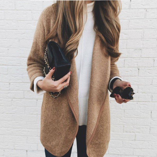 Cardigan: tumblr, camel, camel cardigan, sweater, white sweater ...