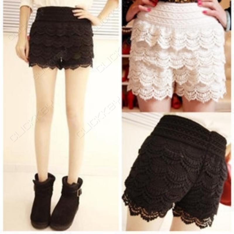 NEW Korean Womens Girls Sweet Cute Crochet Tiered Lace Shorts Skorts Short Pants | eBay
