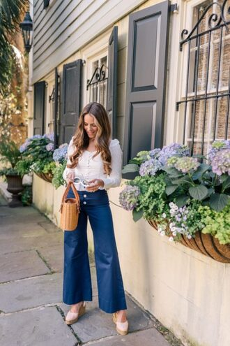 gal meets glam blogger top pants shoes sunglasses bag basket bag spring outfits wedges white top