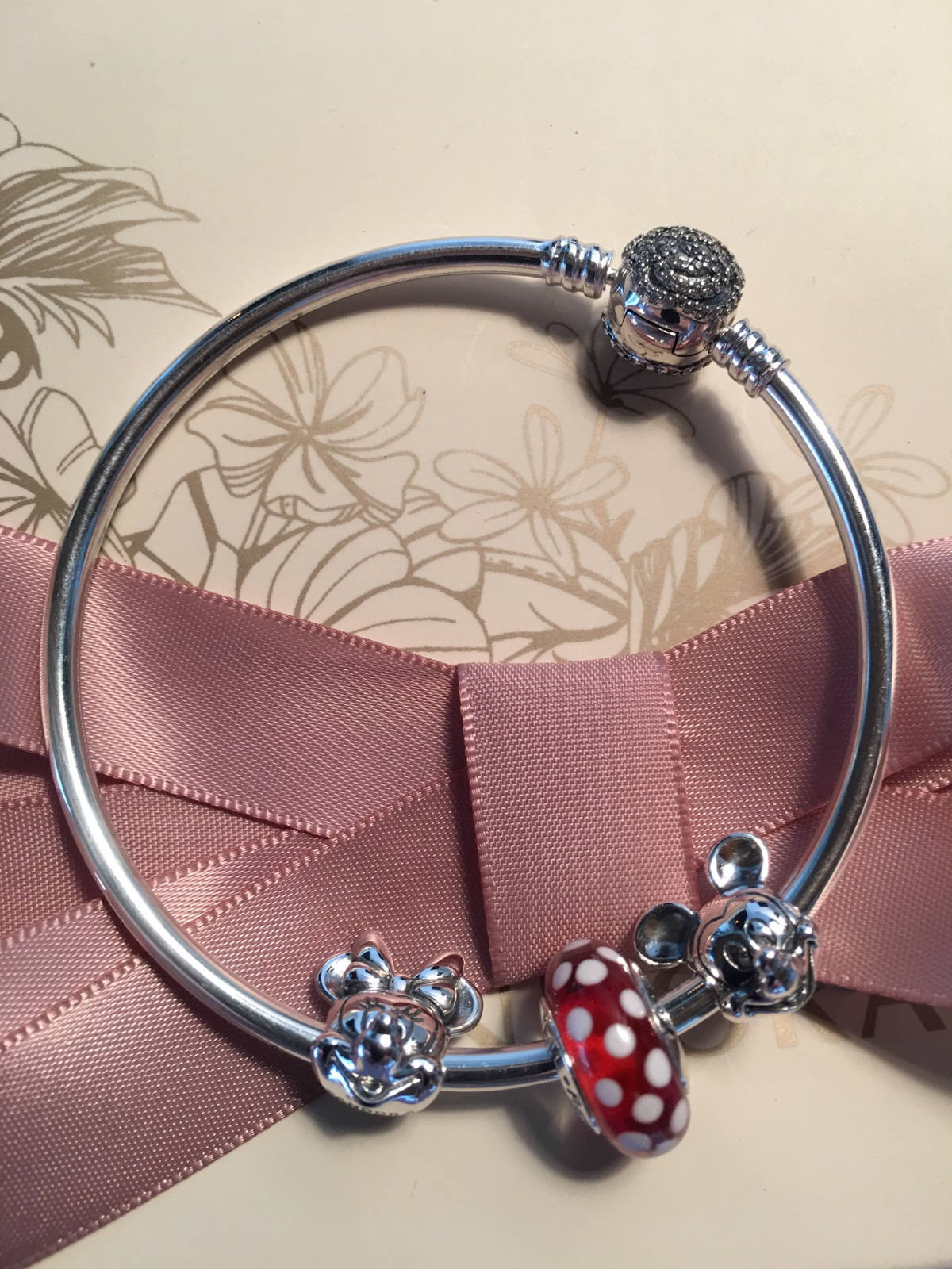 Authentic Pandora Disney Beauty And The Beast Bangle Mickey Minnie Bracelet Three Charm Gift Set Mothers Daybirthday