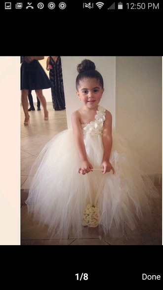 dress flower girl dresses tutu dress tulle dress ivory white dress wedding dress